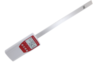 humimeter RH5.1 hand-held paper moisture tester with sword sensor for determination of humidity in paper stacks.